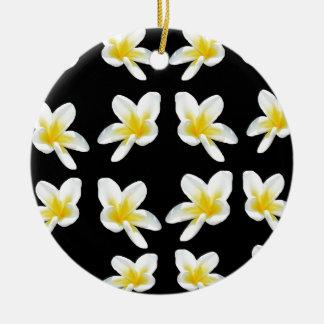 Geel en Zwart Patroon Frangipani, Rond Keramisch Ornament