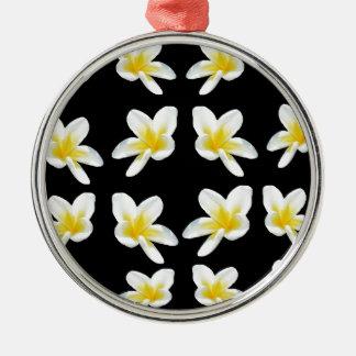 Geel en Zwart Patroon Frangipani, Zilverkleurig Rond Ornament