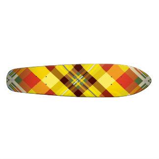 Geel Geruite Schotse wollen stof 19,7 Cm Skateboard Deck