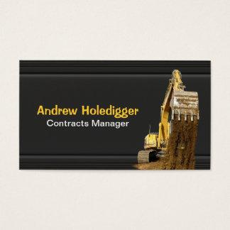 Geel graafwerktuig op zwarte visitekaartjes