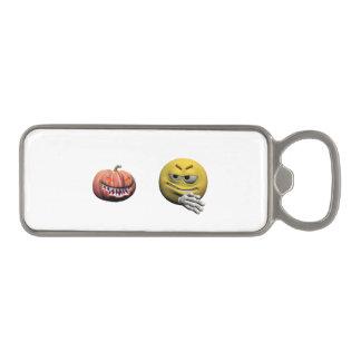 Geel Halloween emoticon of smiley Magnetische Flessenopener