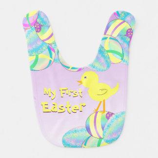 Geel Kuiken met de Eieren van de Pastelkleur MIJN Baby Slabbetje