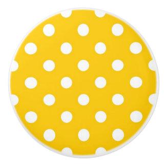 Geel met witte stippen keramische knop