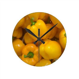 Geel paprika plantaardig patroon ronde klok