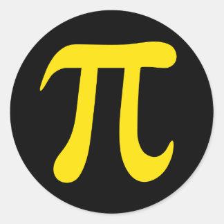 Geel pi wiskundig symbool op zwarte stickers