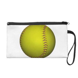 Geel Softball met Paarse Steken