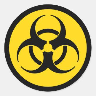 Geel Symbool Biohazard Ronde Sticker