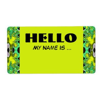 geelgroen naamkenteken etiket