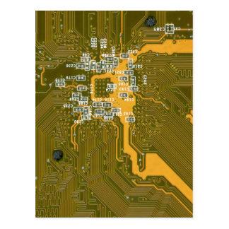 Geelgroen technologiebriefkaart briefkaart