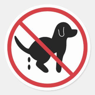Geen Afval van de Hond Ronde Stickers