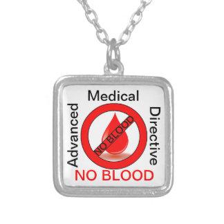 Geen Bloed Ketting Vierkant Hangertje