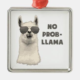 Geen Lama van het Probleem Zilverkleurig Vierkant Ornament