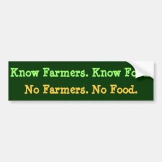 Geen Landbouwers. Geen Voedsel. Ken Landbouwers. Bumpersticker
