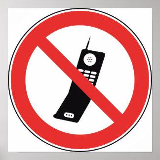Geen Poster van het Teken Cellphone