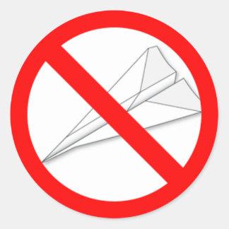 Geen Vliegtuigen van het Document Ronde Sticker