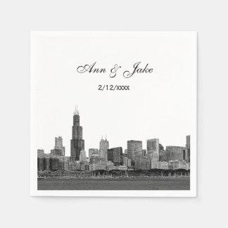 Geëtste de Horizon van Chicago kijkt het Huwelijk Wegwerp Servetten