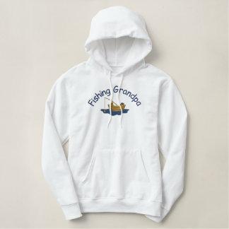 Gegaane Vissende Opa Geborduurde Sweater Hoodie