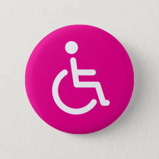 Gehandicapt symbool of roze handicapteken voor ronde button 5,7 cm