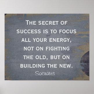 Geheim van Succes - het citaat van Socrates - Poster