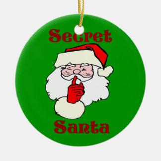 Geheime Kerstman op Groene Kerstmis Rond Keramisch Ornament