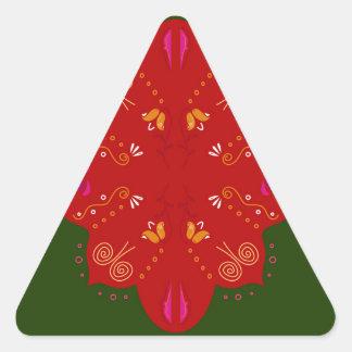 Geheimzinnige handdrawn VolksBloemen Driehoekige Stickers