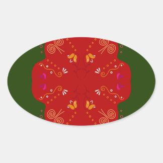 Geheimzinnige handdrawn VolksBloemen Ovale Stickers