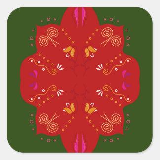 Geheimzinnige handdrawn VolksBloemen Vierkant Sticker