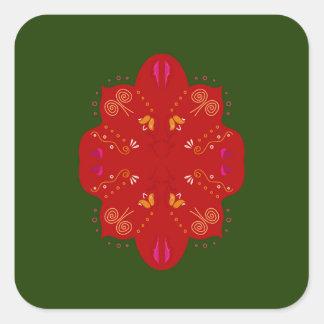 Geheimzinnige handdrawn VolksBloemen Vierkante Sticker