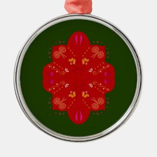 Geheimzinnige handdrawn VolksBloemen Zilverkleurig Rond Ornament