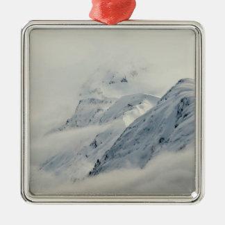 Geheimzinnige Pieken Chugach Zilverkleurig Vierkant Ornament
