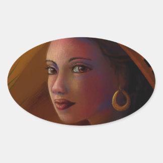 Geheimzinnige Vrouw Ovale Sticker