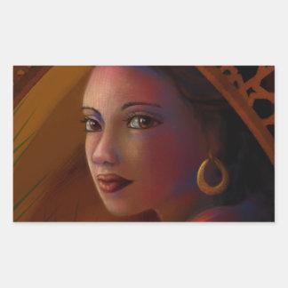 Geheimzinnige Vrouw Rechthoekvormige Sticker