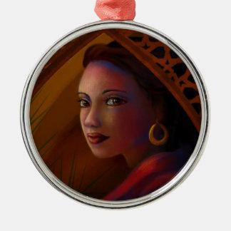 Geheimzinnige Vrouw Zilverkleurig Rond Ornament