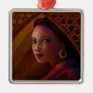 Geheimzinnige Vrouw Zilverkleurig Vierkant Ornament