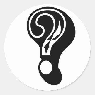 geheimzinnigheid het vraagteken van het ronde sticker