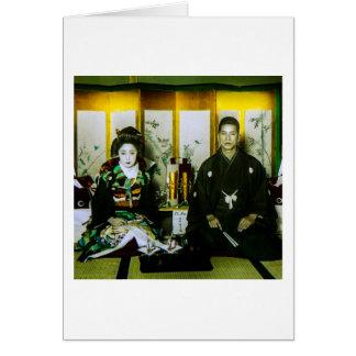 Gehuwd het worden in Oud Japan het Gelukkige Paar Kaart