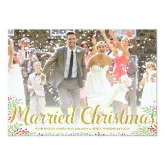 Gehuwde Kerstmis | Kaart van de Foto van de 12,7x17,8 Uitnodiging Kaart