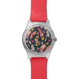 Geïllustreerde de marine bevedert Patroon Horloge