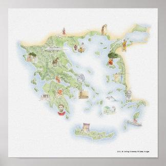 Geïllustreerde kaart van Oud Griekenland Poster