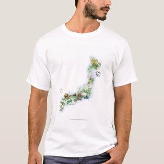 Geïllustreerde kaart van oud Japan T Shirt