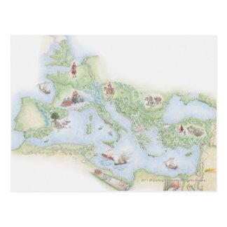 Geïllustreerde kaart van Roman Imperium