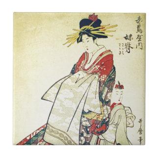 Geisha en Kleine Keramisch Tegeltje