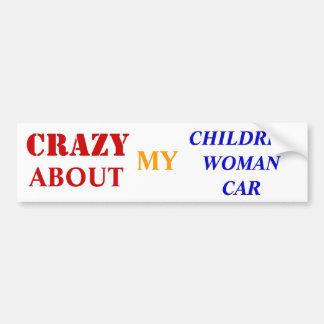 gek over mijn kind-vrouw-auto bumpersticker