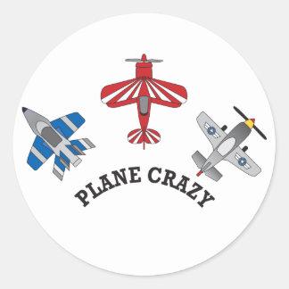 Gek vliegtuig ronde sticker