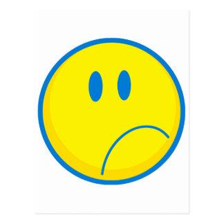 gekke droevige geel en blauwe gezichtssmiley briefkaart