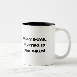 Gekke Jongens… De jacht is voor meisjes! Tweekleurige Koffiemok