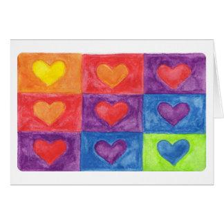 gekleurde harten in vierkanten briefkaarten 0