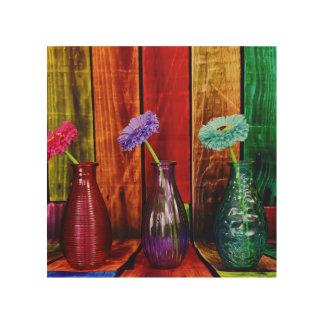 Gekleurde Houten Flessen met Art. van de Muur van Afdrukken Op Hout