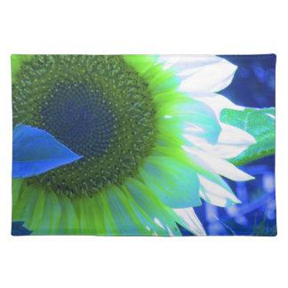 gekleurde mooie zonnebloem - blauw placemat