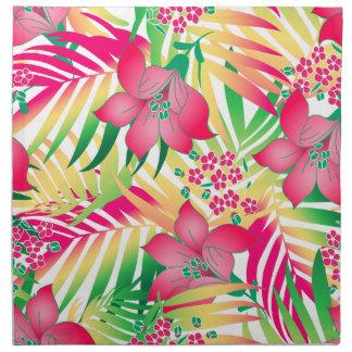 Gekleurde tropische bloemen katoenen servet